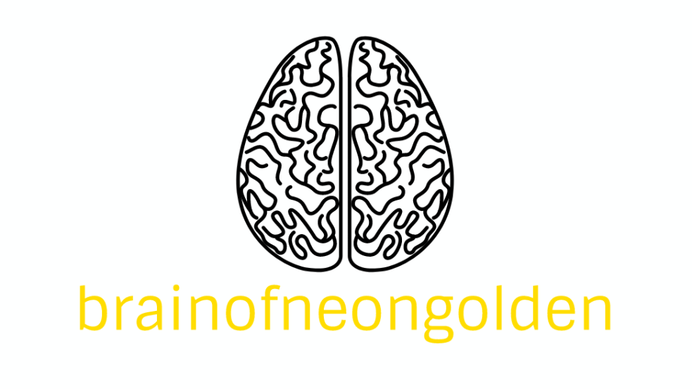 black graphic of brain with brainofneongolden written in yellow below
